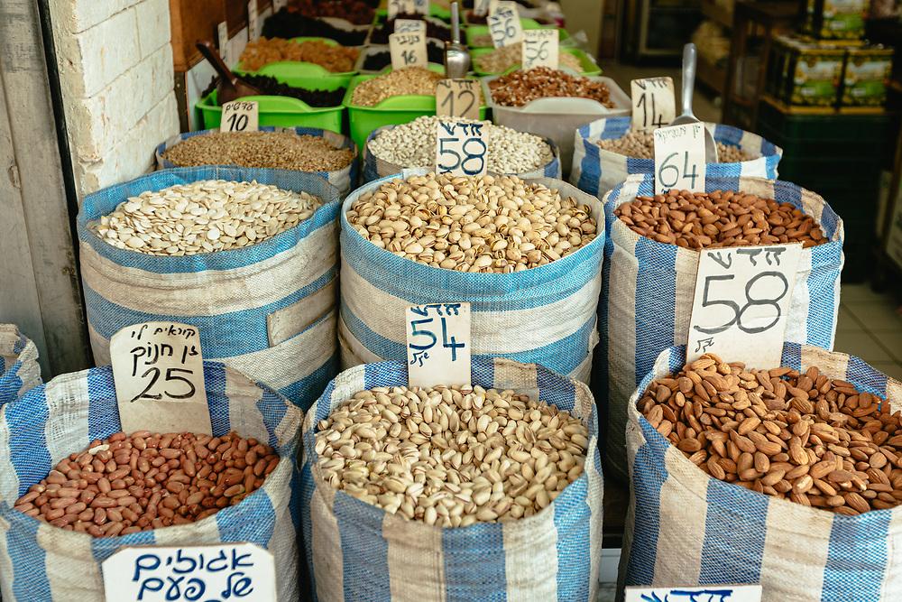 Mixed nuts on display at Levinsky Market in Tel Aviv