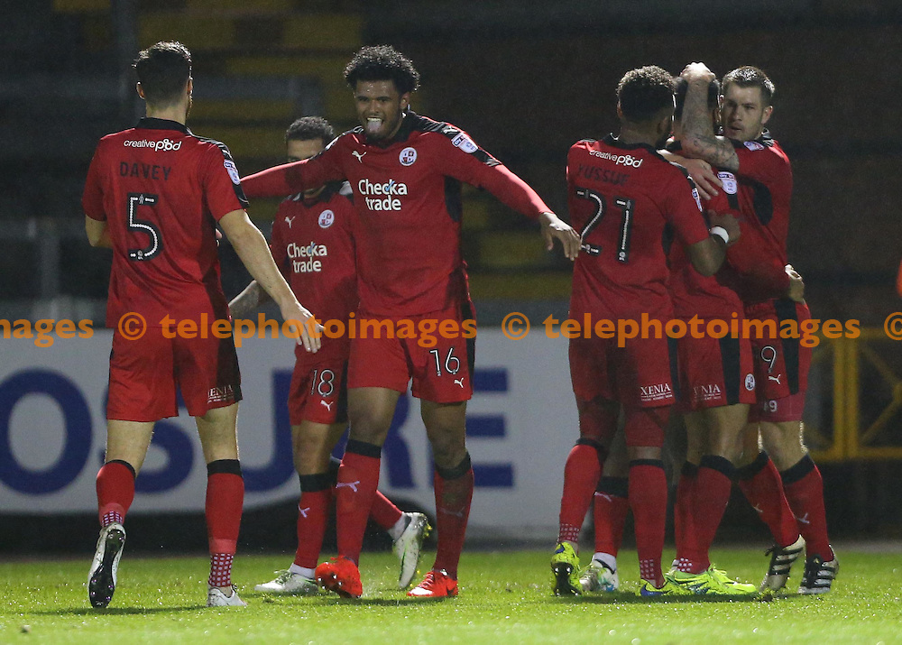 Crawley's Jordan Roberts celebrates after scoring during the FA Cup replay between Bristol Rovers and Crawley Town at the Memorial Stadium in Bristol. November 15, 2016.<br /> James Boardman / Telephoto Images<br /> +44 7967 642437