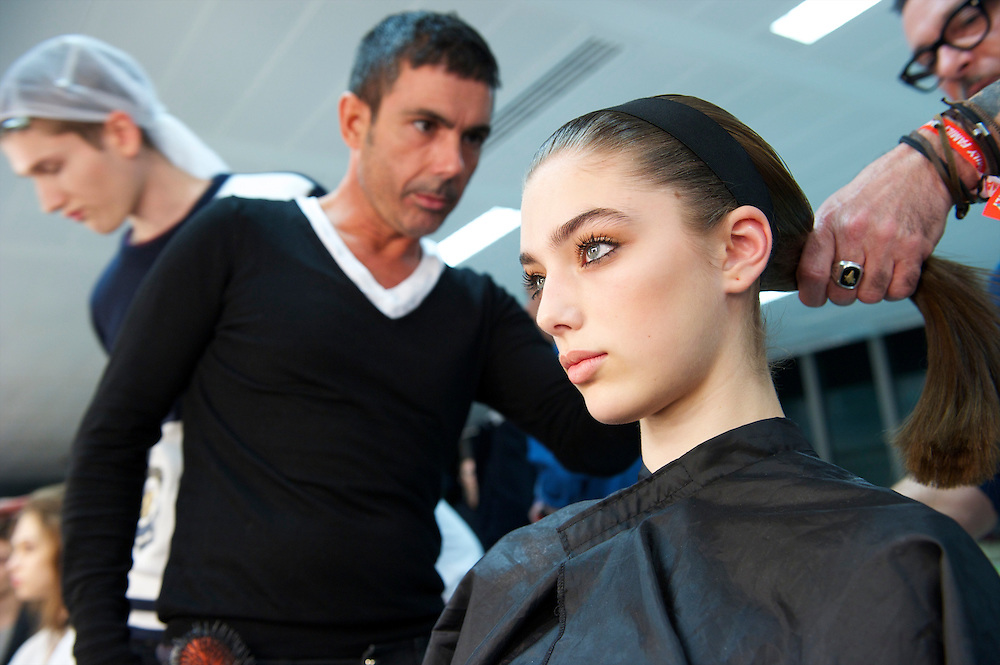 Models are styled backstage at the Jonathan Saunders autumn 2011 collection at Level 2, Paddington Central in London on 19 February 2011.