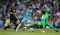 Football - 2016 / 2017 Champions League - Group C : Manchester City v Borussia Monchengladbach - The Ethiad Stadium <br /> <br /> Sergio Aguero of Manchester City got past Yann Sommer of Borussia Monchengladbach to score during match between Manchester City and Borussia Monchengladbach at The Ethiad Stadium <br /> <br /> COLORSPORT/LYNNE CAMERON