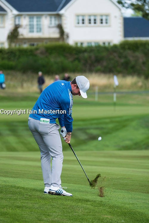 Gleneagles, Scotland, UK; 9 August, 2018.  Day two of European Championships 2018 competition at Gleneagles. Men's and Women's Team Championships Round Robin Group Stage - 2nd Round. Four Ball Match Play format. Connor Syme team GB plays to the 11th green