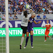 ORLANDO, FL - APRIL 23: Lydia Williams #18 of Houston Dash makes a save against Kaylyn Kyle #6 of Orlando Pride during a NWSL soccer match at the Orlando Citrus Bowl on April 23, 2016 in Orlando, Florida. The Orlando Pride won the game 3-1.  (Photo by Alex Menendez/Getty Images) *** Local Caption *** Lydia Williams; Kaylyn Kyle