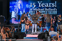 Jesse James Dupree acknowledges the 15th anniversary of the Full Throttle Saloon on this Jackyl Thursday, which is always packed for this annual free concert during the Sturgis Black Hills Motorcycle Rally. SD, USA. August 7, 2014.  Photography ©2014 Michael Lichter.