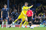 AFC Wimbledon attacker Marcus Forss (15) scoring penalty during the EFL Sky Bet League 1 match between Southend United and AFC Wimbledon at Roots Hall, Southend, England on 12 October 2019.