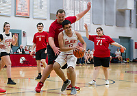 Sean Marston puts pressure on Christan Marrone during the BHS / LHS Unifed Basketball game at Belmont High School Monday afternoon.  (l-r) Isabella McDonald-12, Lirim Dreshja-8, Sean Marston-00, Christian Marrone-11 and Kathryn Hodge-71.  (Karen Bobotas/for the Laconia Daily Sun)