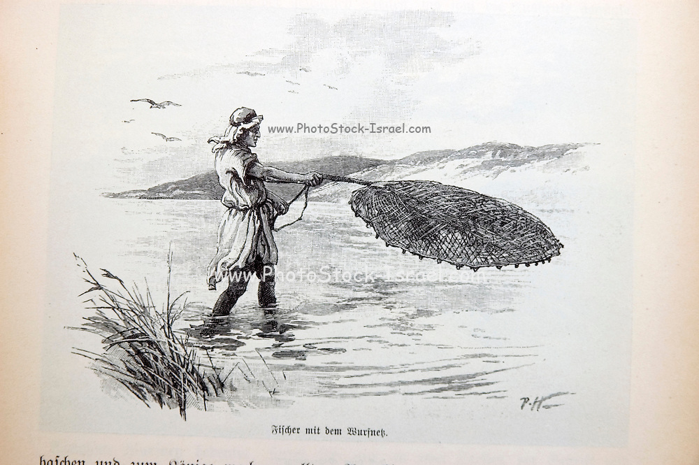 Historic illustration of fishing in the Sea of Galilee