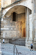 Bergamo: the  upper town is almost, usually packed with tourists from all around the world is almost empty. Piazza Duomo