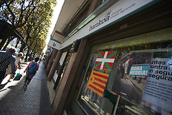 September 15, 2018 - San Sebastian, Spain - Yellow ribbons and flags in support of Catalan independence before the match between Real Sociedad against FC Barcelona at Anoeta Stadium in San Sebastian, Spain on September 15, 2018. (Credit Image: © Jose Breton/NurPhoto/ZUMA Press)