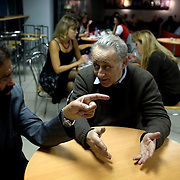 French novelist-philosopher Marek Halter (left) meets Moscow a film archivist. .He was born in Poland in 1936. During World War II, he and his parents escaped from the Warsaw Ghetto and fled to the Soviet Union, spending the remainder of the war in Russia and later in Kokand, Uzbekistan. In 1946 he was chosen to travel to Moscow to present flowers to Stalin...In 1948 the family returned to Poland and later, in 1950, they emigrated to France and took up residence in Paris. Halter studied pantomime under Marcel Marceau and for a time earned a living as a painter; his work was featured in several international exhibitions...Halter began writing in the 1970s. His works include The Madman and the Kings (awarded the Prix Aujourd?hui in 1976), The Messiah, The Mysteries of Jerusalem, The Book of Abraham (1986) and its sequel, The Children of Abraham (1990), The Wind of the Khazars (2003), Sarah (2004), Zipporah (2005), and Lilah (2006). In addition to his novels he is the author of The Jester And the Kings: a Political Biography (1989) and Stories of Deliverance: Speaking with Men And Women Who Rescued Jews from the Holocaust (1998)...In 1991 Halter and Andrei Sakharov organized French College in Moscow. As of now (2007) he remains the president of the college.