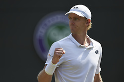 KEVIN ANDERSON BEATS ROGER FEDERER AT WIMBLEDON CHAMPIONSHIPS 2018.(180711) -- LONDON, July 11, 2018  Kevin Anderson of South Africa celebrates during the men's singles quarter-final match against Roger Federer of Switzerland at the Wimbledon Championships 2018 in London, Britain, on July 11, 2018. Kevin Anderson won 3-2. (Credit Image: © Stephen Chung/Xinhua via ZUMA Wire)