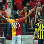 Galatasaray's Colin Kazim RICHARDS (L) celebrate his goal during their Turkish superleague soccer derby match Galatasaray between Fenerbahce at the Turk Telekom Arena in Istanbul Turkey on Friday, 18 March 2011. Photo by TURKPIX