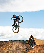 Erik Obermeyer hits a jump in the new bike park at Crown Mountain Park in El Jebel, Colorado. Obermeyer expressed that he was excited that the Roaring Fork Valley finally had a bike park.