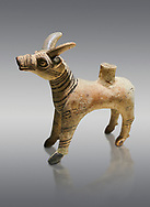 Bronze Age Anatolian terra cotta antilope shaped ritual vessel- 19th to 17th century BC - Kültepe Kanesh - Museum of Anatolian Civilisations, Ankara, Turkey. Against a grey background. .<br /> <br /> If you prefer to buy from our ALAMY PHOTO LIBRARY  Collection visit : https://www.alamy.com/portfolio/paul-williams-funkystock/kultepe-kanesh-pottery.html<br /> <br /> Visit our ANCIENT WORLD PHOTO COLLECTIONS for more photos to download or buy as wall art prints https://funkystock.photoshelter.com/gallery-collection/Ancient-World-Art-Antiquities-Historic-Sites-Pictures-Images-of/C00006u26yqSkDOM
