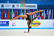 """Kragulj Sara during clubs routine at the International Tournament of rhythmic gymnastics """"Città di Pesaro"""", 11 April, 2015. Sara born on October 26, 1996 in Ljubljana, is a Slovenian rhythmic gymnast.<br /> This tournament dedicated to the youngest athletes is at the same time of the World Cup."""