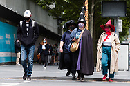 Witches and Warlocks are seen in the CBD during the COVID-19 in Melbourne. With over a week of zero cases in Victoria, Premier Daniel Andrews is expected to make major announcements on Sunday about further easing of restrictions. (Photo by Dave Hewison/Speed Media)