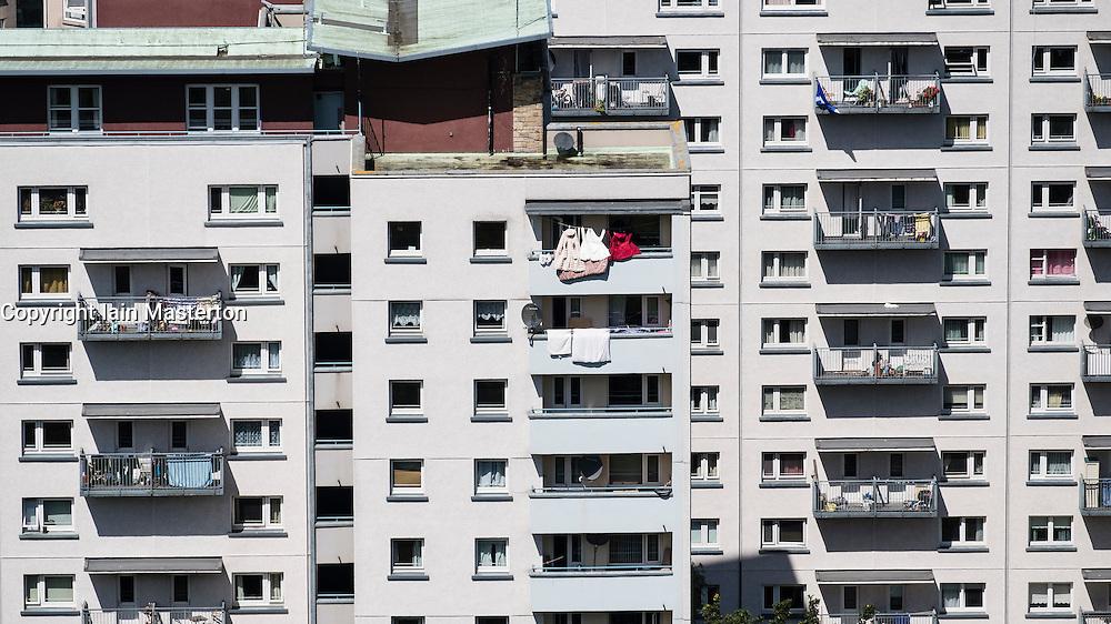 View of high rise social housing estate apartment buildings in central Edinburgh , Scotland, united Kingdom