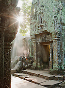 Sunrise in a temple at Angkor, Siem Reap Province, Cambodia