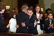 Governor David A. Patterson hugs his father, Basil Patterson at the Swearing-in of the Honorable David A. Patterson at the 55th Governor of New York  at The New York State Capitol in the Assembly Chambers on March 17, 2008