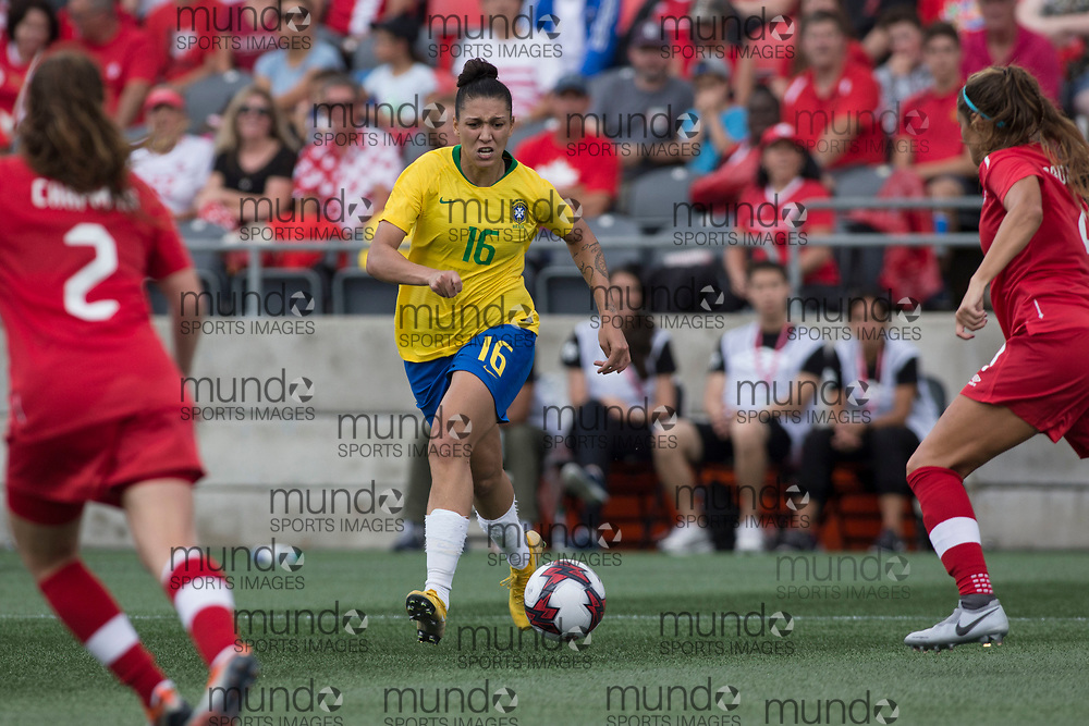 OTTAWA, ON - September 2: Beatriz Bia Zaneratto (16 -- F) of Brazil in an international FIFA women's friendly soccer match between Canada and Brazil at TD Place Stadium in Ottawa, Canada, September 2, 2018. Canada defeated Brazil 1-0. (Photo by Sean Burges/Mundo Sport Images)