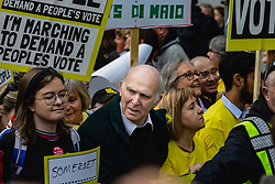 Lib-Dem Leader Vince Cable leads tens of thousands of people from across the UK as they march from Park Lane to Parliament demanding a People's Vote on the EU withdrawal agreement before the UK leaves the EU. London, March 23 2019