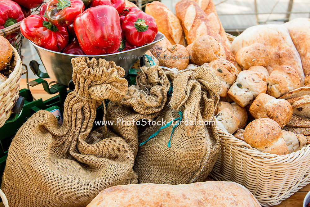 Fresh breads on display on a buffet