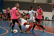 Raoni Medina of England gets in between Scotland's Craig McCleish (11) and Dayle Robertson (10). England v Scotland match, Home nations Futsal tournament at the Cardiff city House of Sport in Cardiff, South Wales on Friday 2nd December 2016. This inaugural tournament played over 3 days brings together teams from Wales, England, Scotland and Northern Ireland. <br /> pic by Andrew Orchard, Andrew Orchard sports photography.