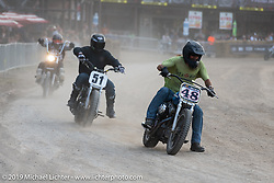Hooligan flattracker (no. 51) Kole King on his Sportsters, Harley-Davidson, Motorcycles, Racers, Racing Bikes, Race Motorcycles in the Hooligan races on the temporary track in front of the Sturgis Buffalo Chip main stage during the Sturgis Black Hills Motorcycle Rally. SD, USA. Wednesday, August 7, 2019. Photography ©2019 Michael Lichter.