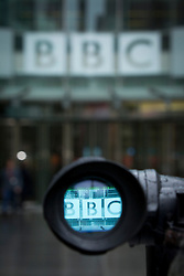 © Licensed to London News Pictures. 12/11/2012. London, UK. The BBC logo on the front of is seen through a television camera viewfinder in London today (12/11/12). Photo credit: Matt Cetti-Roberts/LNP
