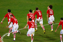 Team of Paraguay celebrate after the penalty shots after 0-0 in overtime during the 2010 FIFA World Cup South Africa Round of Sixteen football match between Paraguay and Japan on June 29, 2010 at Loftus Versfeld Stadium in Tshwane/Pretoria. (Photo by Vid Ponikvar / Sportida)