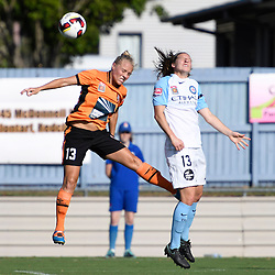 BRISBANE, AUSTRALIA - DECEMBER 4: Tameka Butt of the Roar and Rebekah Stott of the City compete for the ball during the round 5 Westfield W-League match between the Brisbane Roar and Melbourne City at AJ Kelly Field on December 4, 2016 in Brisbane, Australia. (Photo by Patrick Kearney/Brisbane Roar)