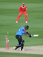 Cricket - 2020 T20 Vitality Blast - Quarter-final - Sussex Sharks vs Lancashire Lightning - County Ground, Hove<br /> <br /> Delray Rawlins of Sussex Sharks clean bowled by Luke Wood of Lancashire Lightning.<br /> <br /> COLORSPORT/ASHLEY WESTERN