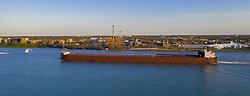 April 28, 2019 - Detroit, Michigan, U.S. - Detroit, Michigan - The James R Barker, a self-unloading bulk cargo carrier, steams upriver past Detroit and Windsor, Ontario on the Detroit River. (Credit Image: © Jim West/ZUMA Wire)