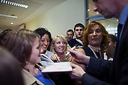 Moscow, Russia, 06/09/2011..Russian billionaire businessman Mikhail Prokhorov, newly elected leader of pro-business political party Right Cause, signs autographs for students at the Economics Faculty of the Moscow State University.