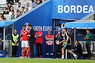 Chris Coleman, the Wales football team manager gives his instructions to Hal Robson-Kanu of Wales as he sends him on as a replacement in the 2nd half. Euro 2016, Wales v Slovakia at Matmut Atlantique , Nouveau Stade de Bordeaux  in Bordeaux, France on Saturday 11th June 2016, pic by  Andrew Orchard,