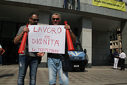 July 13, 2017 - Naples, Campania/Napoli, Italy - Montefibre workers protest.Workers of chemical plant at Acerra, in sit-in outside the offices of the Campania Region, to protest the lack of jobs. (Credit Image: © Salvatore Esposito/Pacific Press via ZUMA Wire)