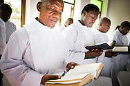 Pastoral candidates read during a service with more than 1,000 worshippers on Sunday, March 15, 2015, at the Evangelical Lutheran Church in Tanzania – South-East of Lake Victoria Diocese's (ELCT-SELVD) Ebenezer Cathedral in Shinyanga, Tanzania. LCMS Communications/Erik M. Lunsford