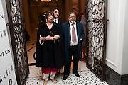 LADY NAIPAUL; SIR VIDIA NAIPAUL;, Ella Krasner and Pablo Ganguli host a Liberatum dinner in honour of Sir V.S.Naipaul. The Landau at the Langham. London. 23 November 2010. -DO NOT ARCHIVE-© Copyright Photograph by Dafydd Jones. 248 Clapham Rd. London SW9 0PZ. Tel 0207 820 0771. www.dafjones.com.