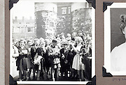 school outing with London Tower in the background 1950s