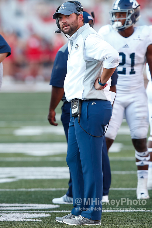 BLOOMINGTON, IN - SEPTEMBER 23: Head coach Tyson Summers of the Georgia Southern Eagles is seen during the game against the Indiana Hoosiers at Memorial Stadium on September 23, 2017 in Bloomington, Indiana. (Photo by Michael Hickey/Getty Images) *** Local Caption *** Tyson Summers