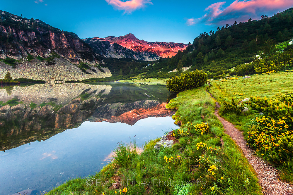 Reflections in a lake in the mountain