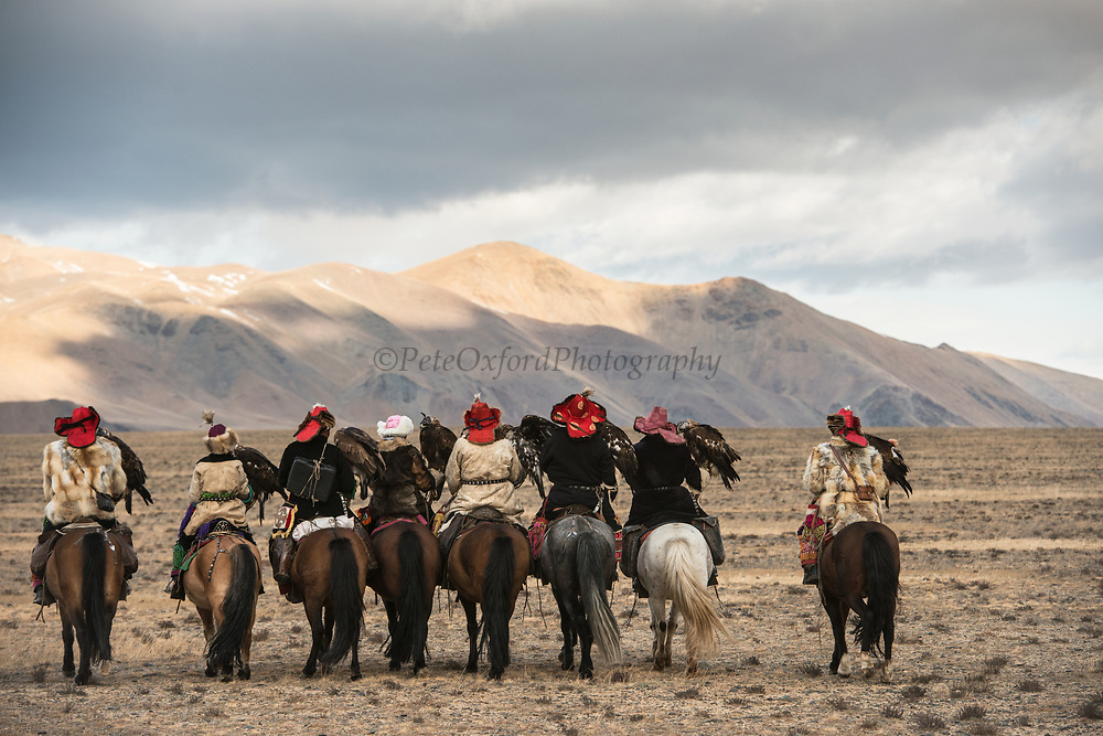 Kazakh eagle hunters & huntresses<br /> Mongolia's largest ethnic minority<br /> in Altai Mountains<br /> Western Mongolia
