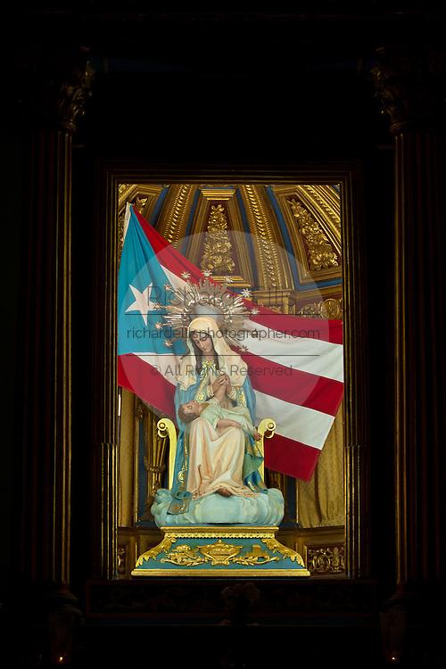 Detail of San Juan Cathedral in Plazuela de las Monjas in Old San Juan, Puerto Rico