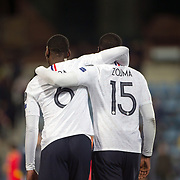 ANDORRA LA VELLA, ANDORRA. June 1. Paul Pogba #6 of France and Kurt Zouma #15 of France embrace at the end of the game during the Andorra V France 2020 European Championship Qualifying, Group H match at the Estadi Nacional d'Andorra on June 11th 2019 in Andorra (Photo by Tim Clayton/Corbis via Getty Images)