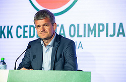 Tomaz Berlocnik, president of Petrol Olimpija during press conference of KK Petrol Olimpija (SLO) and KK Cedevita Zagreb (CRO) when announces cooperation or join of both clubs , into KK Cedevita Olimpija Ljubljana, on June 4th, 2019, in Arena Stozice, Ljubljana, Slovenia.Photo by Vid Ponikvar / Sportida