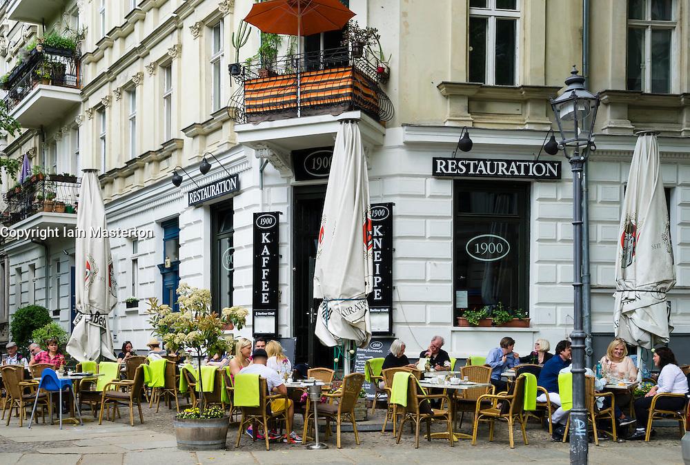 Traditional restaurant called Restauration on Kollwitzplatz in Prenzlauer Berg Berlin Germany