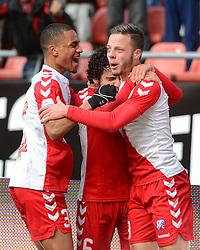 13-12-2015 NED: FC Utrecht - AFC Ajax, Utrecht<br /> Utrecht verslaat Ajax opnieuw in de Galgenwaard 1-0 / Yassin Ayoub #6 scoort de winnende treffer en viert dat met de assist gever Bart Ramselaar #23. Links Ramon Leeuwin #3