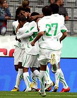 Fotball<br /> Spania v Saudi Arabia<br /> Innsbruck Østerrike<br /> Foto: Gepa/Digitalsport<br /> NORWAY ONLY<br /> <br /> FIFA Weltmeisterschaft 2010 in Suedafrika, Vorberichte, Vorbereitung, Vorbereitungsspiel, Freundschaftsspiel, Laenderspiel, Spanien vs Saudi Arabien. <br /> <br /> Bild zeigt den Jubel von KSA