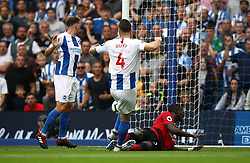 Brighton & Hove Albion's Shane Duffy (centre) scores his side's second goal of the game