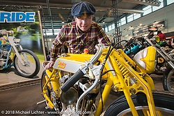 Custom bike builder Yuri Shif of Russia with his entry into the LowRide Magazine custom bike show during Motor Bike Expo. Verona, Italy. January 24, 2016.  Photography ©2016 Michael Lichter.