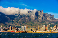 Table Bay Harbor, Central Business District with Table Mountain in background, Cape Town, South Africa.